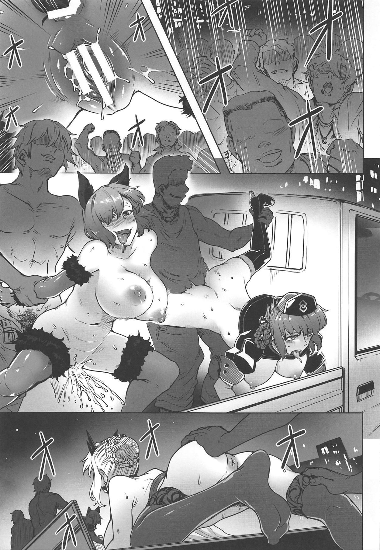 【エロ同人誌】(C95)ハロウィンで盛り上がる繁華街に過激なコスプレ姿で現れたマシュ・アルトリア・ナイチンゲール…ヤる気満々の男たちに囲われ野外で堂々と乱交セックスwww【酉寅:ドスケベハロウィンパレード】